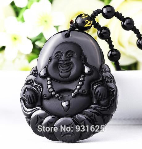 Black Obsidian (Natural Volcanic Glass-Stone) Lucky Buddha Necklace