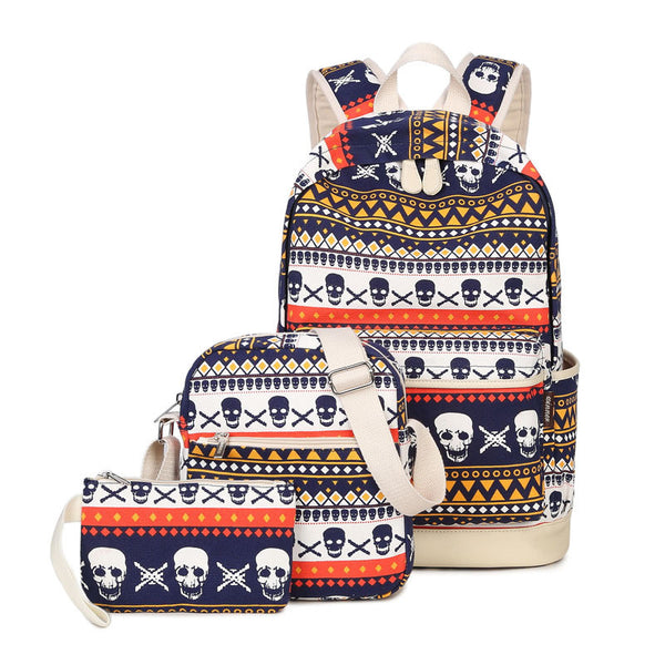 Awesome Skull Canvas Backpack Set - 3PCS Backpack Set