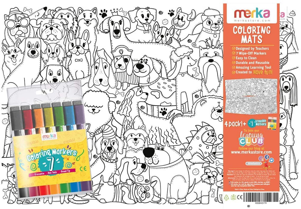 merka Drawing Pad for Kids Placemat 4 Mats with 7 Markers Cats and Dogs Set Non Slip