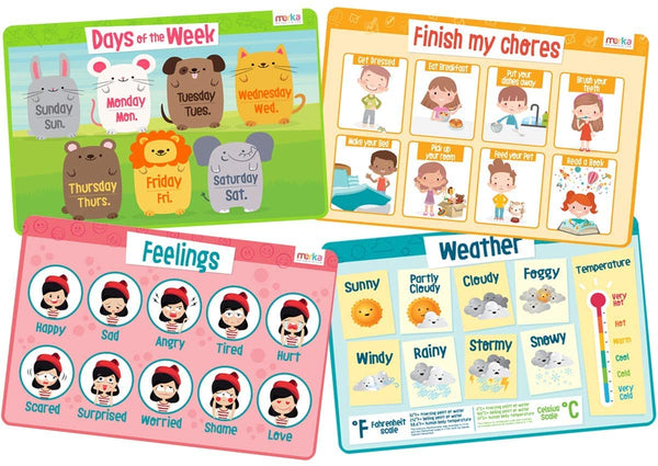 merka Educational Placemats for Kids - My Day Set - Bundle of 4 Mats - Days of The Week, Feelings, Weather, Chores - Non Slip, Washable and Reusable - Learn About Emotions, Responsibilities and More