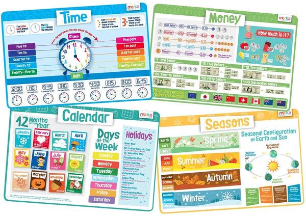 merka Kids Placemats Educational Placemat Non Slip Time Set Year Calendar Money Seasons