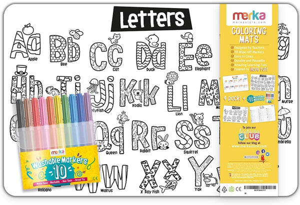 merka Coloring Mats - 4 Big Sturdy Fun Coloring Art Mats with 10 High Washable Kids Safe Markers