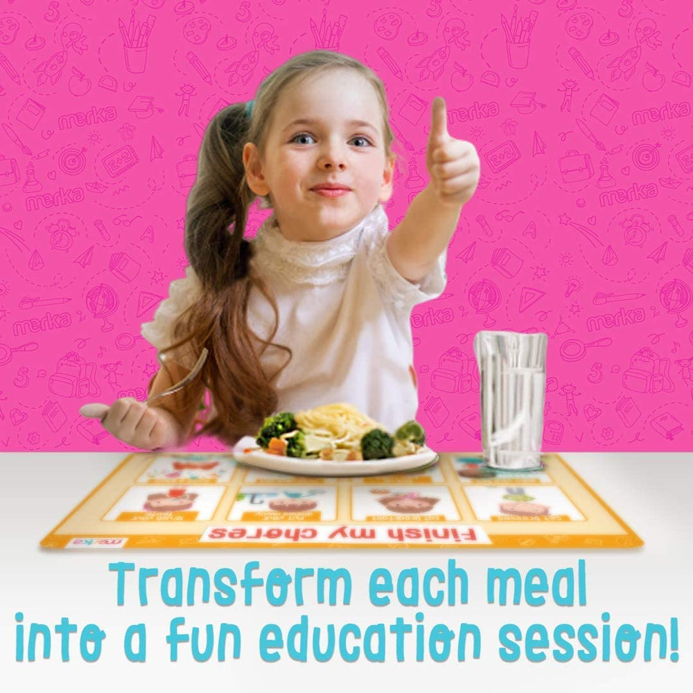 Educational Non Slip Placemats for Kids - Day Set