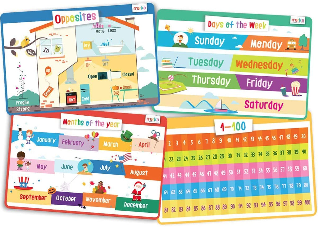 merka Kids Placemats Educational Placemat Non Slip Opposites Set Days Months Count 1-100