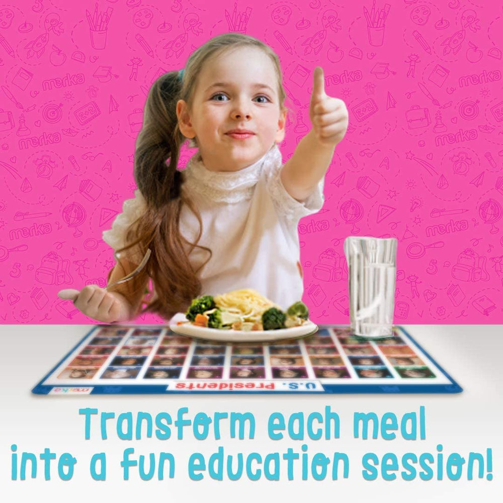 Educational Non Slip Placemats for Kids - School Set