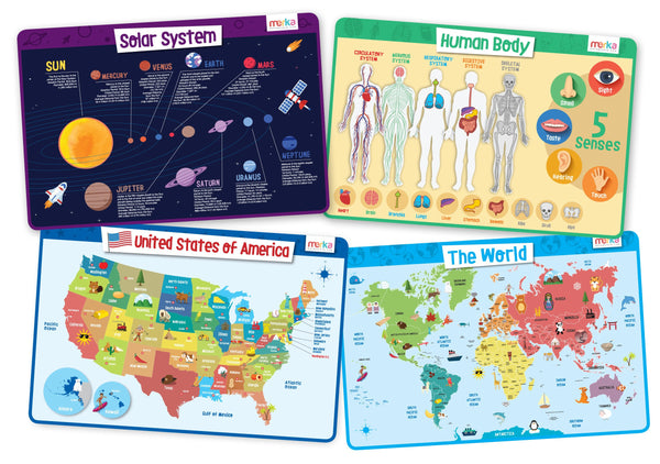 Explorer Educational Kids Placemat Set: Body, USA, World, Solar System