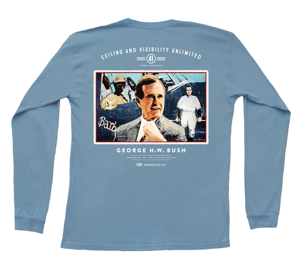 American Co. George H. W. Bush Long Sleeve Pocket Tee
