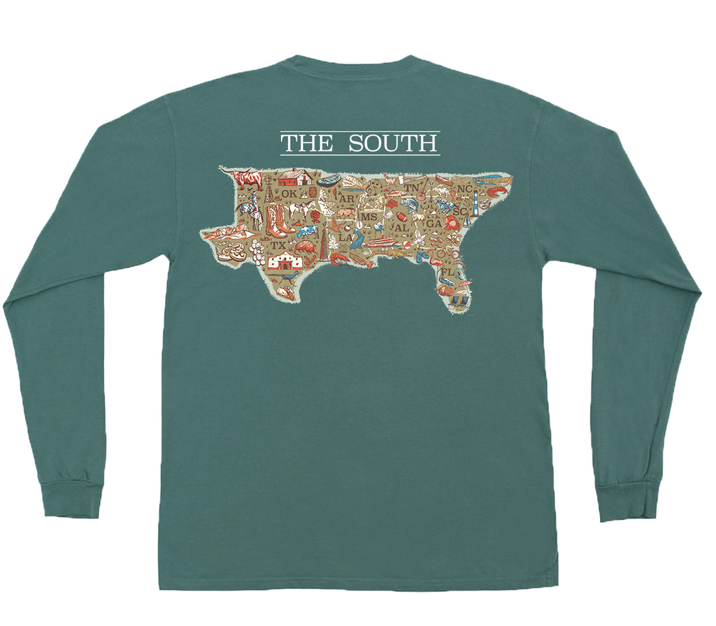 American Co. Map of the South Long Sleeve Pocket Tee