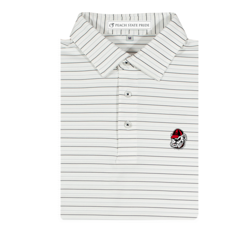 GSU Navy & White Dogwood Stripe Performance Polo - Knit Collar