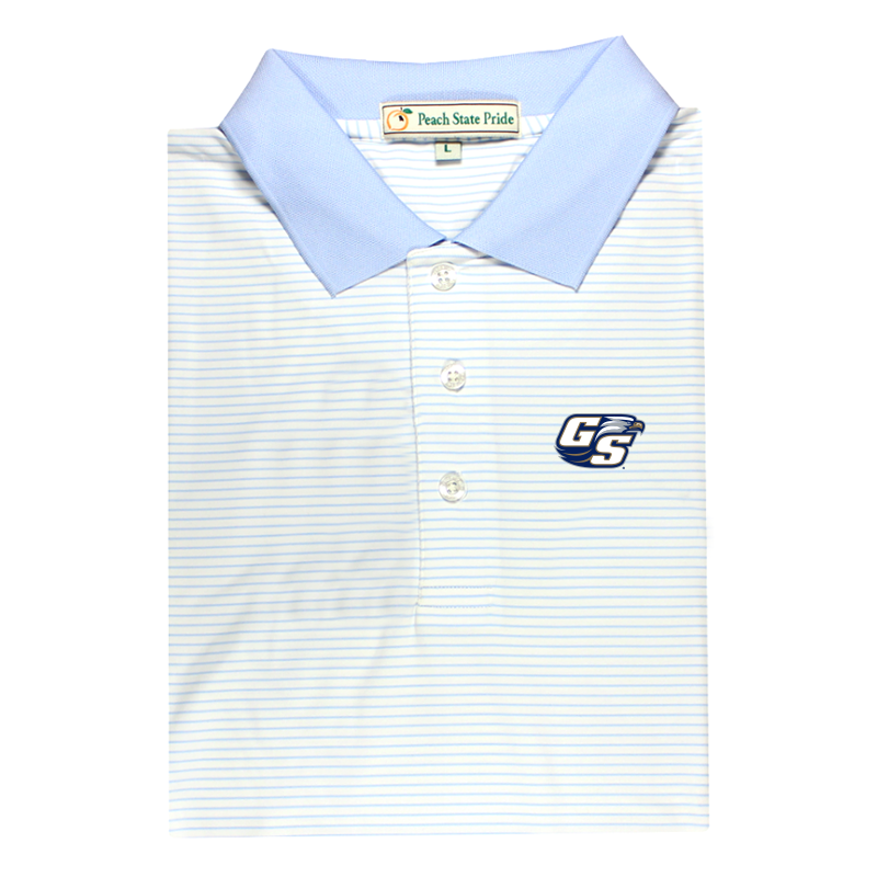GSU Sky Blue & White Dogwood Stripe Performance Polo - Knit Collar