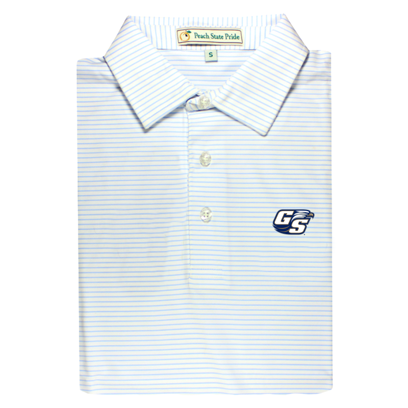 GSU Sky Blue & White Dogwood Stripe Performance Polo - Self Collar