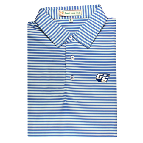 GCSU Navy & White Classic Stripe Performance Polo - Self Collar