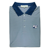 GSU Navy & White Classic Stripe Performance Polo - Knit Collar