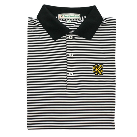GSU Navy & Mint Classic Stripe Performance Polo - Self Collar