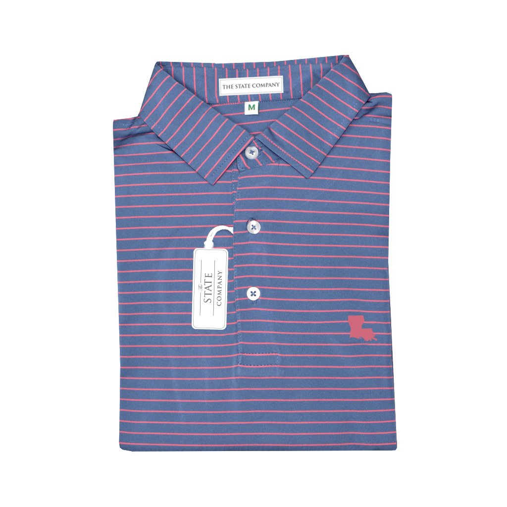 Louisiana Peach State Pride Ocean Blue & Coral Magnolia Stripe Performance Polo - Self Collar