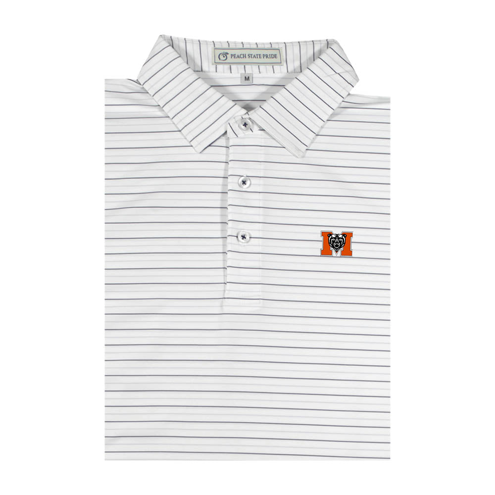 Mercer Charcoal and Ash Gray Betula Stripe Performance Polo