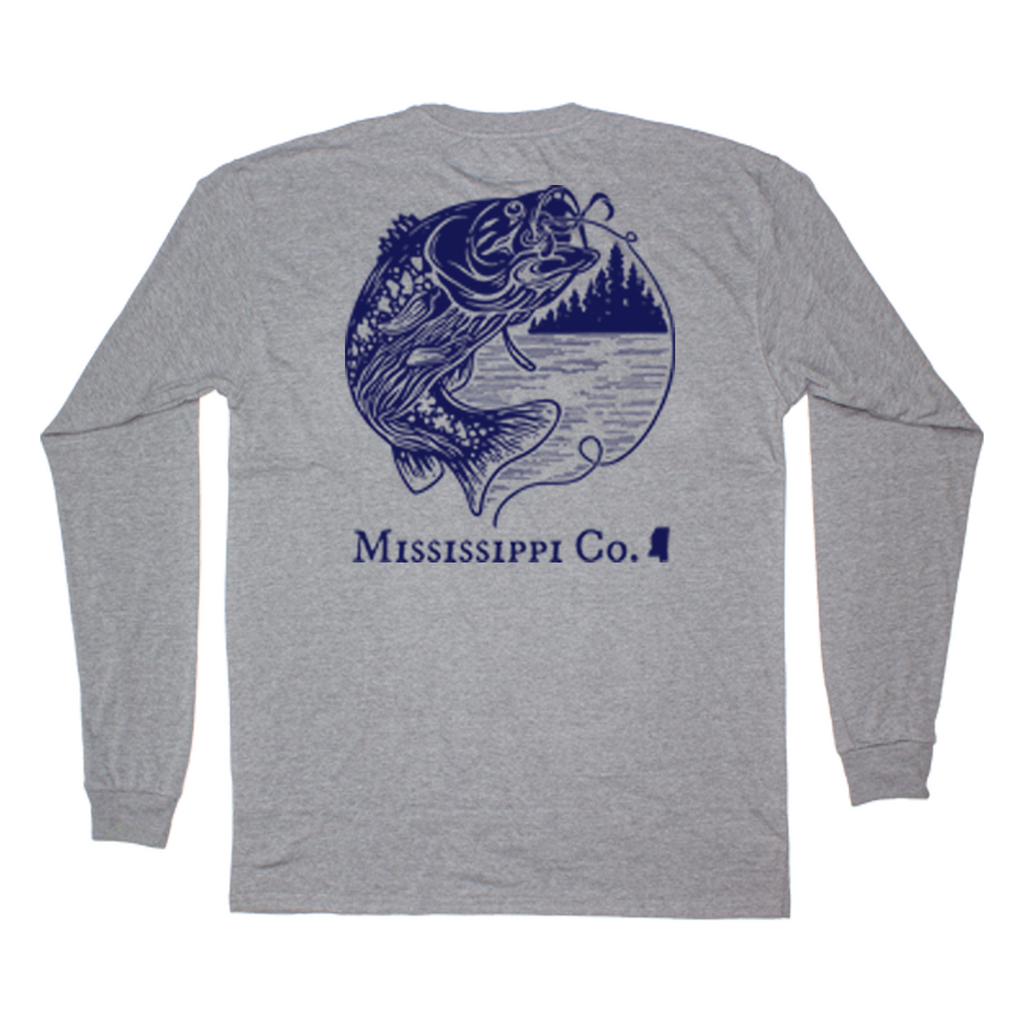 Mississippi Jumping Bass Long Sleeve Pocket Tee