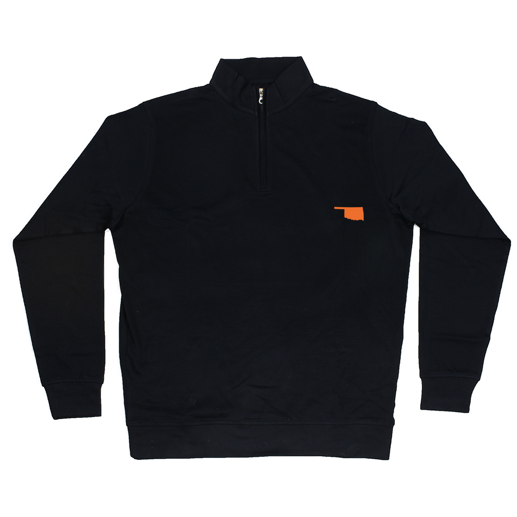 Oklahoma Black Cotton Pullover - Orange Logo