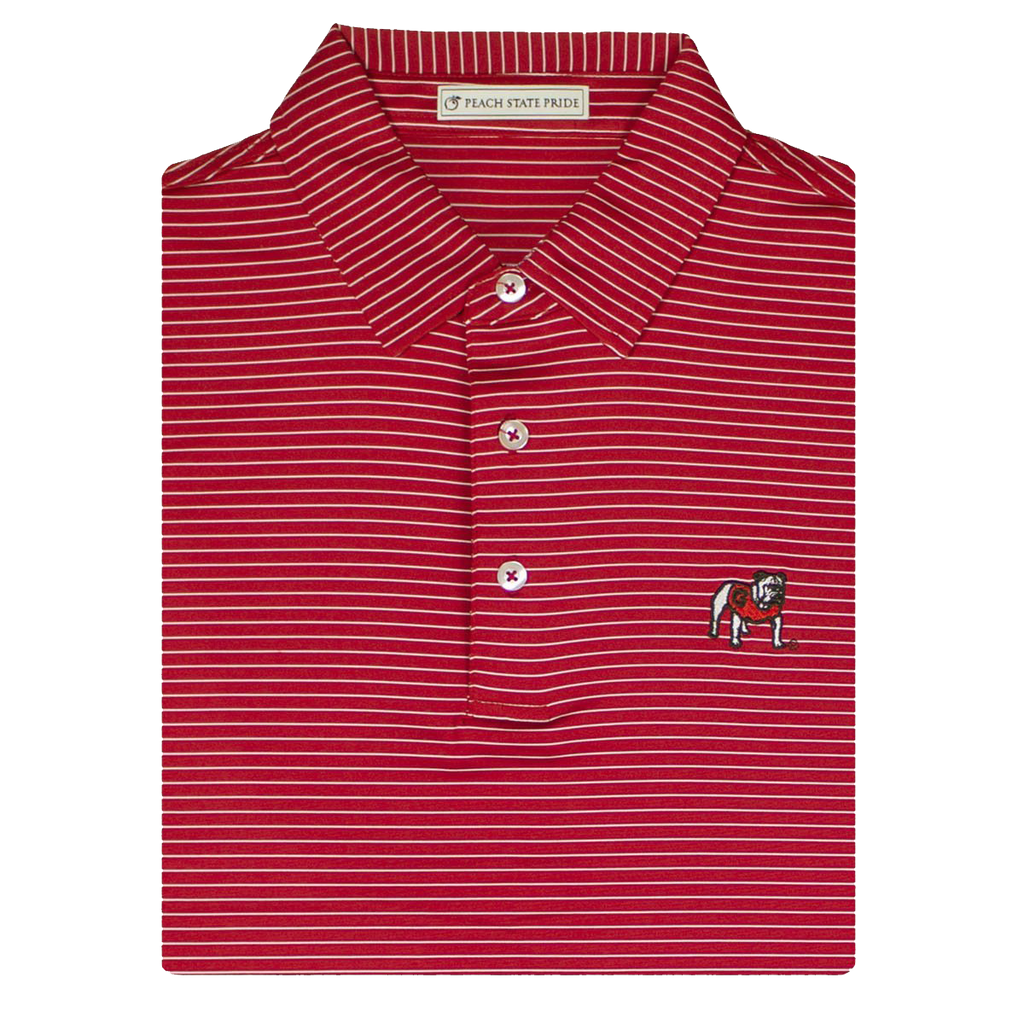 UGA Standing Dawg Red & White Dogwood Stripe Polo