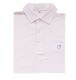 Powder Blue & Coral Crepe Myrtle Stripe Performance Polo