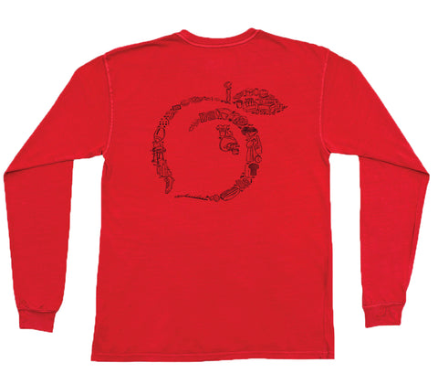 Peches Long Sleeve Pocket Tee