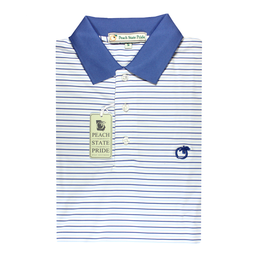 Performance Polo - Knit Collar - Navy and Sky Blue Birch Stripe