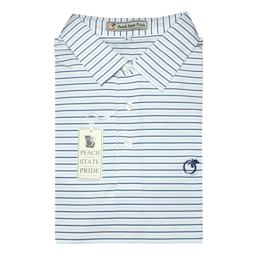 Navy & Sky Blue Birch Stripe Performance Polo - Self Collar