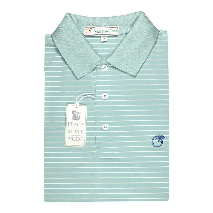 Sea Green & White Magnolia Stripe Performance Polo - Knit Collar