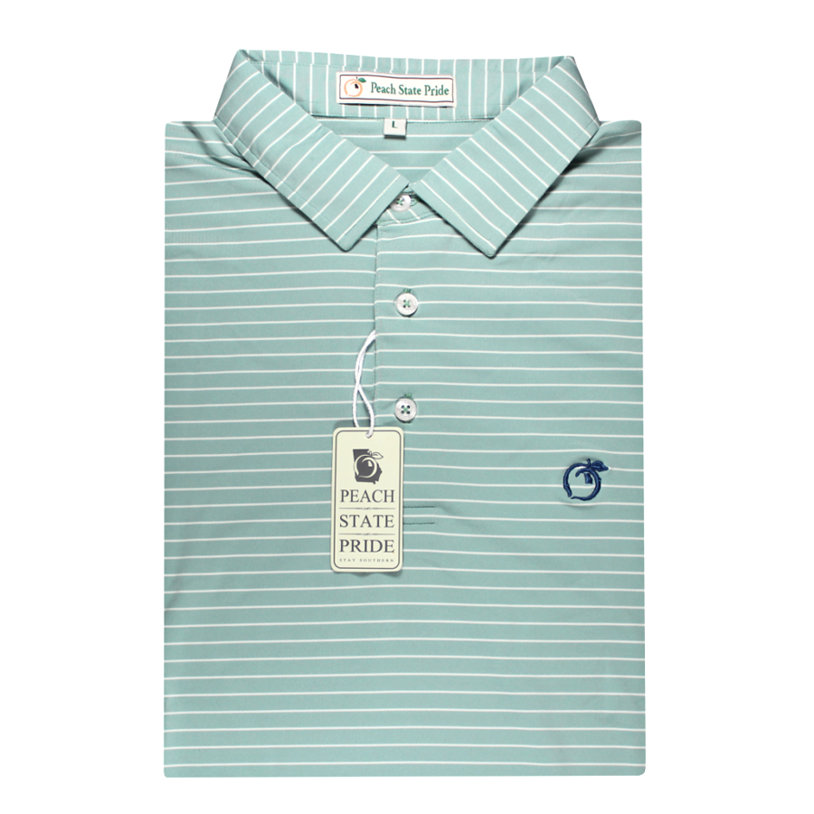 Performance Polo - Self Collar - Magnolia Sea Green Stripe
