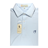 Sky Blue & White Magnolia Stripe Performance Polo - Self Collar
