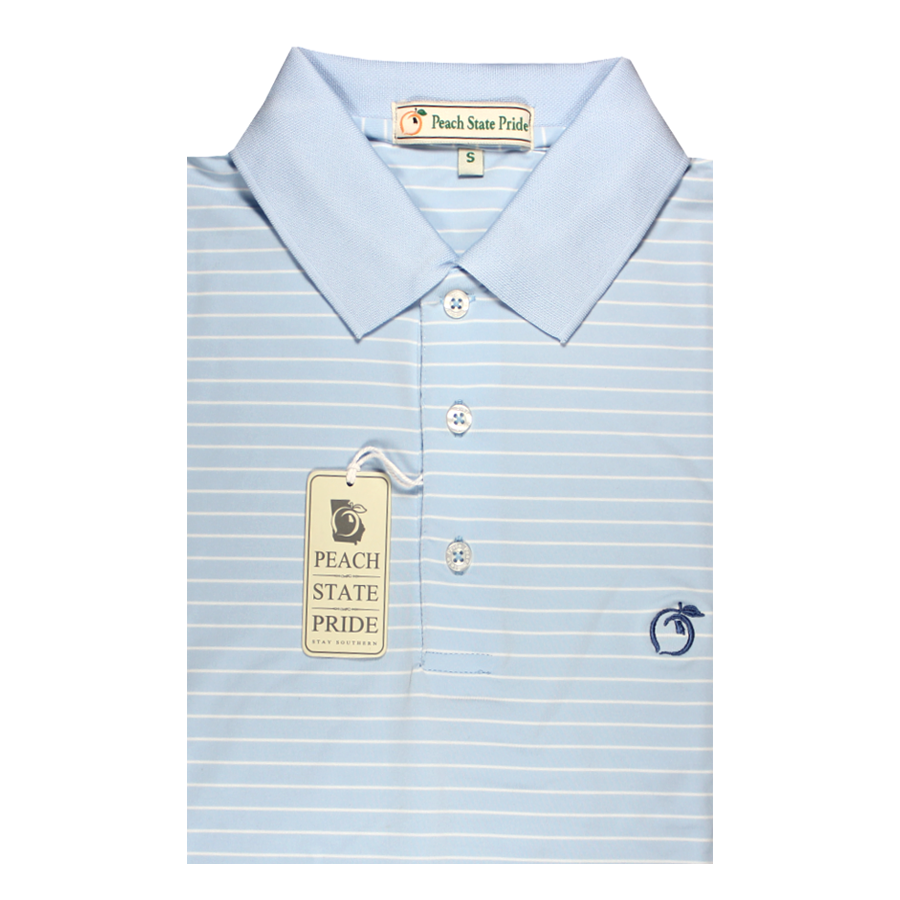 Performance Polo - Knit Collar - Sky Blue Magnolia Stripe