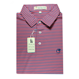 Performance Polo - Self Collar - Navy and Coral