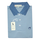 Navy & Mint Classic Stripe Performance Polo - Knit Collar