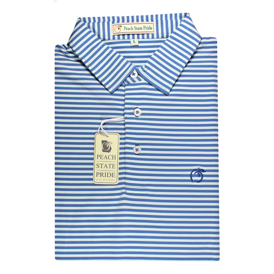 Performance Polo - Self Collar - Navy and Sky Blue