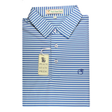 Navy & Sky Blue Classic Stripe Performance Polo  - Self Collar
