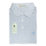 Navy & White Dogwood Stripe Performance Polo - Self Collar