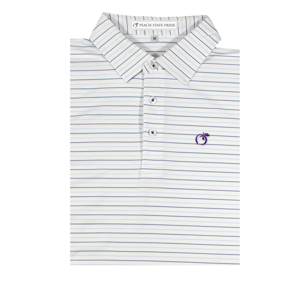 White and Lavender Betula Stripe Performance Polo