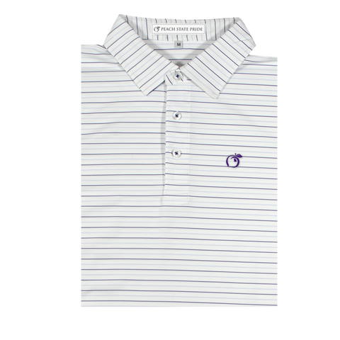 GSU Navy & White Dogwood Stripe Performance Polo - Self Collar
