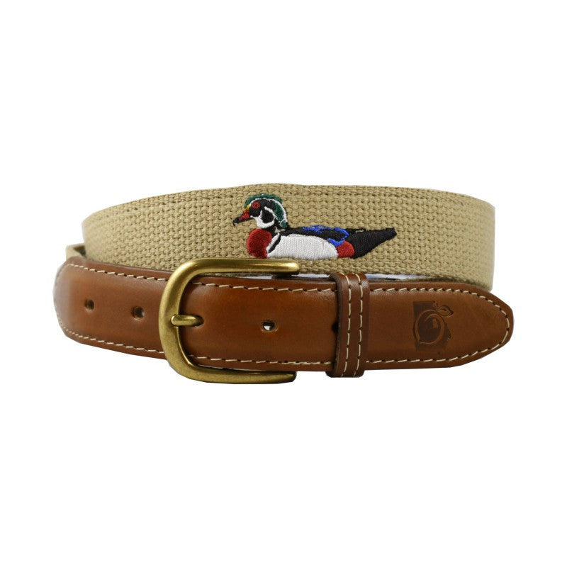 Wood Duck & Pipe Embroidered Belt