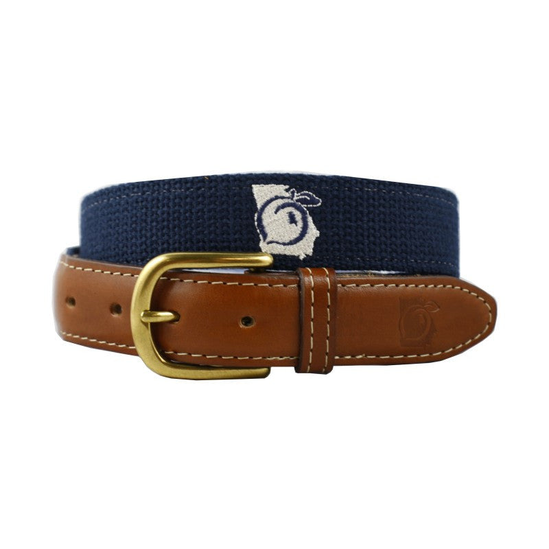 State of Georgia Embroidered Belt