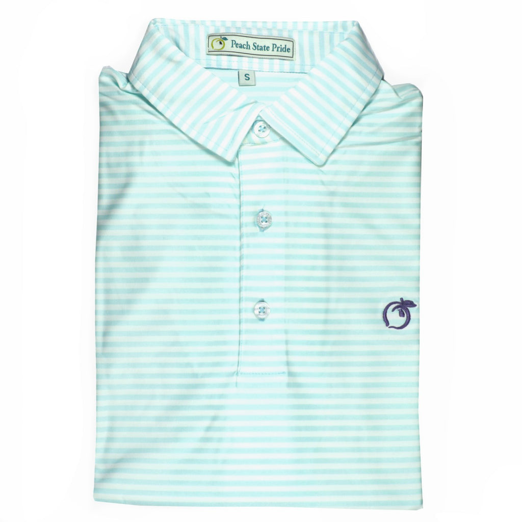 Mint & White Classic Stripe Performance Polo - Self Collar