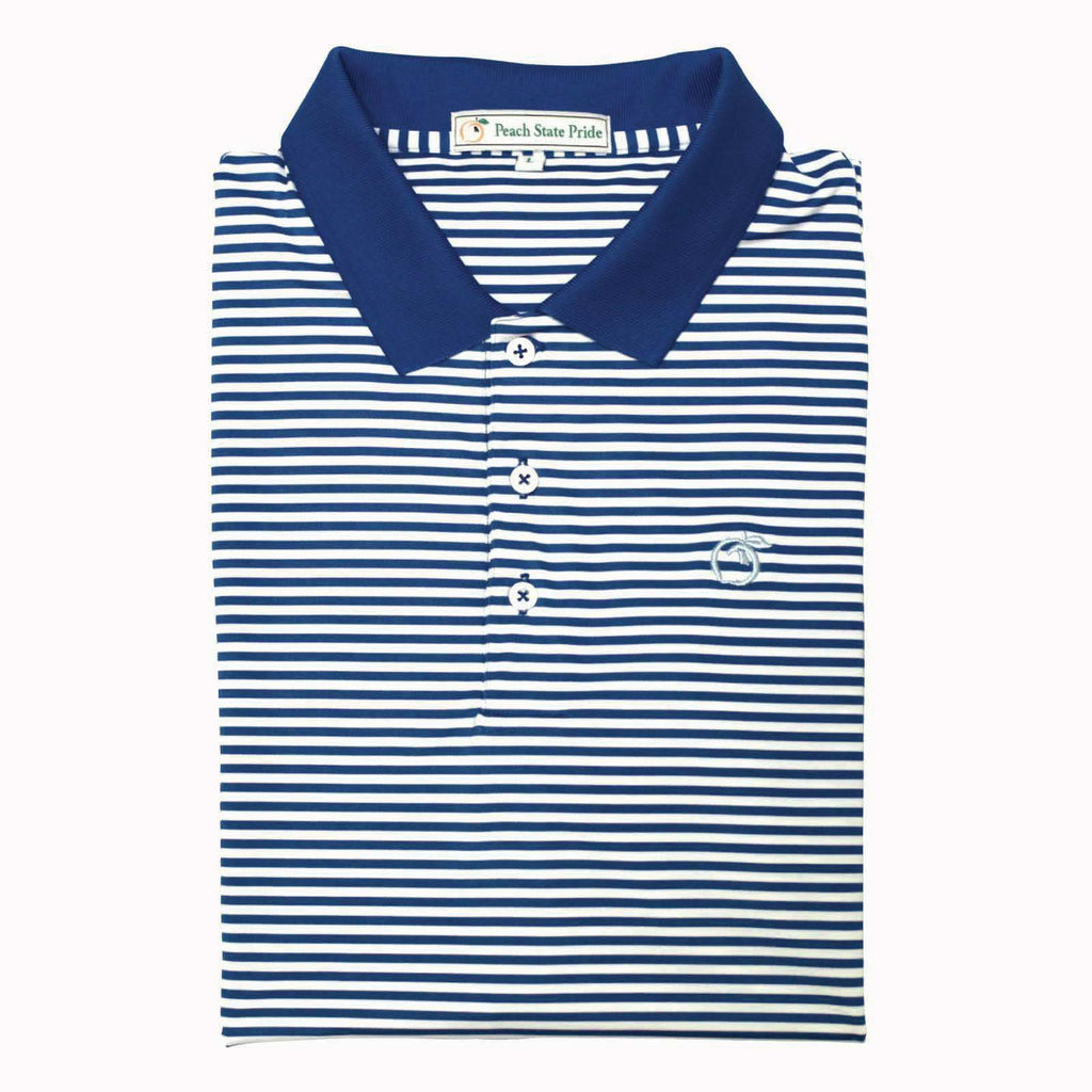 Peach State Pride Navy & White Classic Stripe Performance Polo - Knit Collar