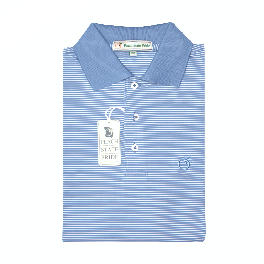 Lake Blue Azalea Stripe Performance Polo - Knit Collar