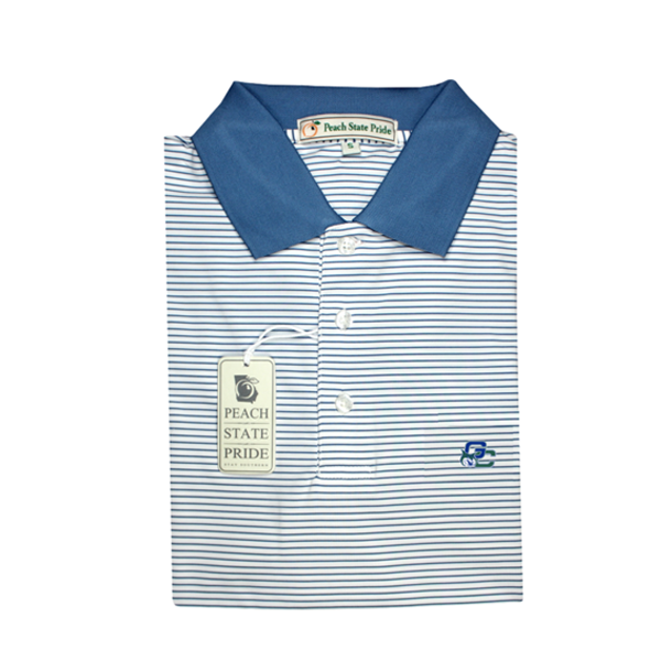 GCSU Navy & White Dogwood Stripe Performance Polo - Knit Collar