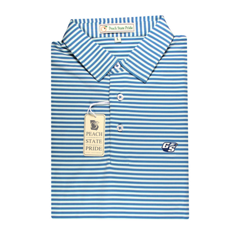 GSU Navy & Sky Blue Birch Stripe Performance Polo - Knit Collar