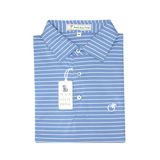Lake Blue & White Magnolia Stripe Performance Polo - Self Collar