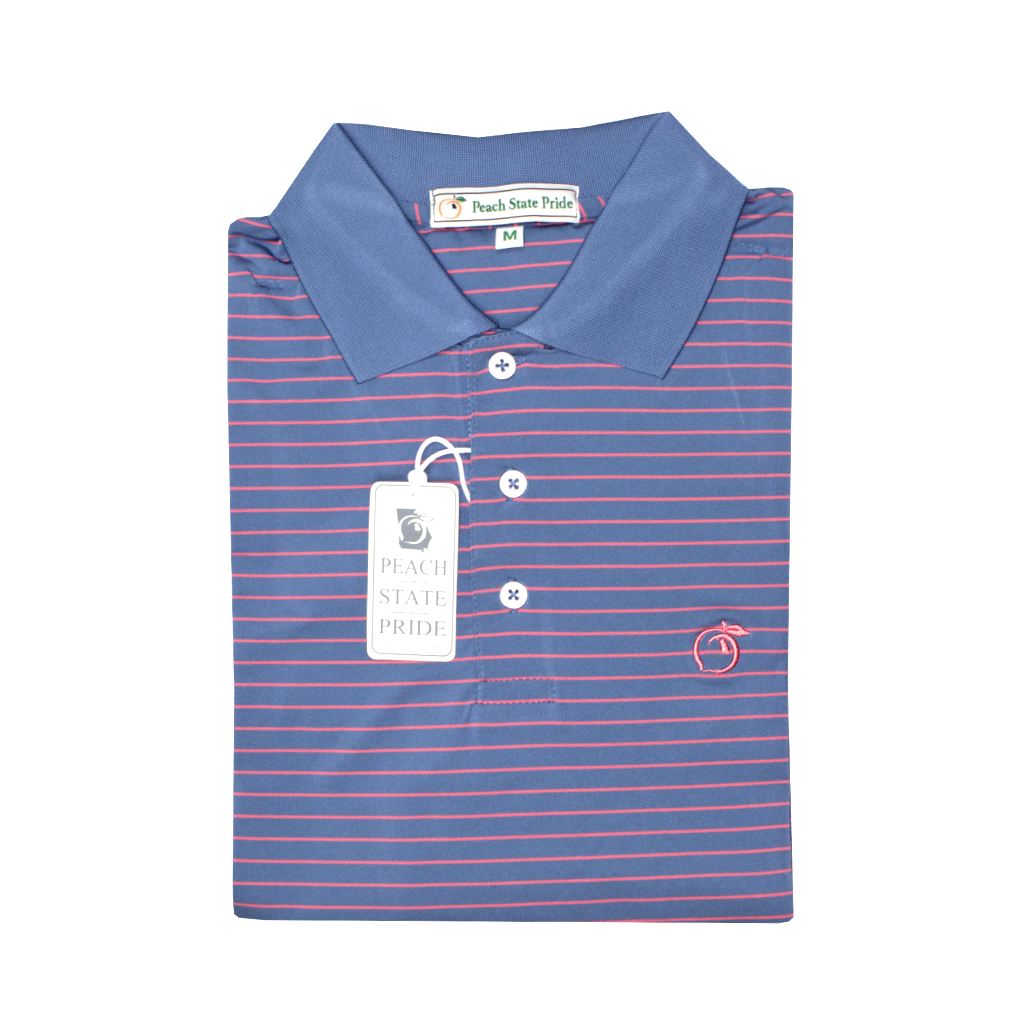 Ocean Blue & Coral Magnolia Stripe Performance Polo - Knit Collar