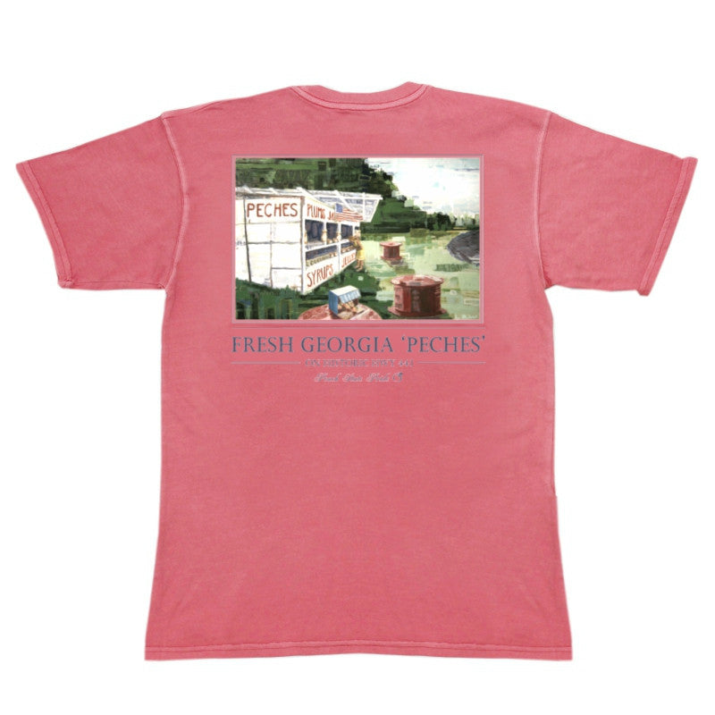 'Peches' Pocket Tee | Coral | Peach State Pride