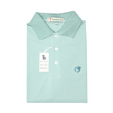 Powder Teal & White Azalea Stripe Performance Polo - Knit Collar