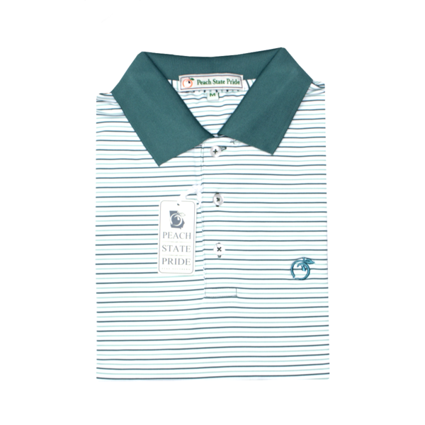 Powder Teal & Sea Pine Birch Stripe Performance Polo - Knit Collar